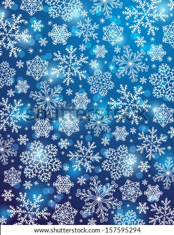 blue background with snowflakes, vector illustration - stock vector