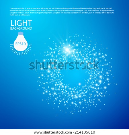 Blue background with stars and lights. Vector illustration  - stock vector