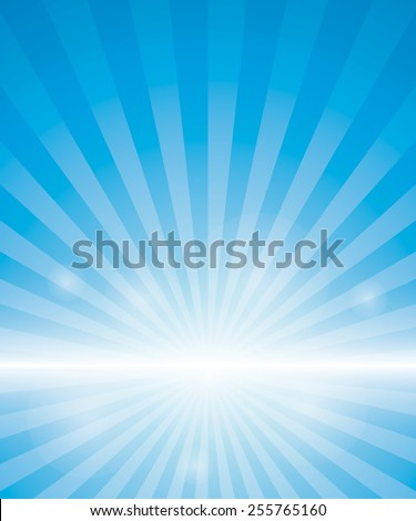 Blue Background With Sunburst. Vector Illustration - stock vector