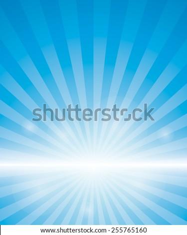 Blue Background With Sunburst. Vector Illustration - stock vector