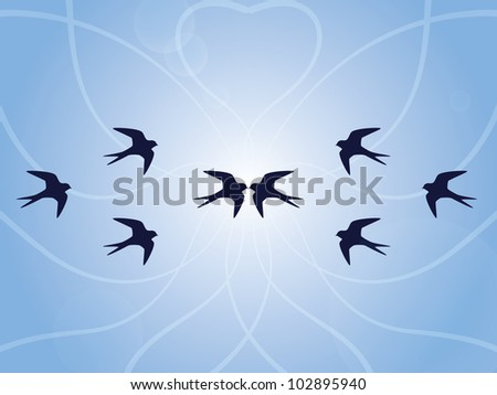 Blue background with swallows - stock vector