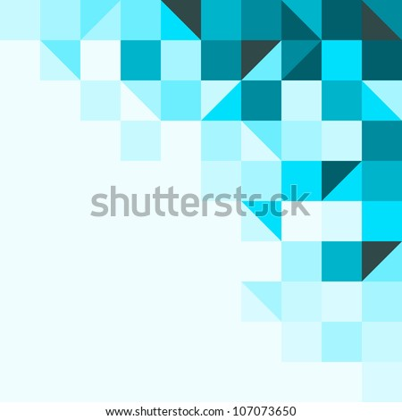 Blue background with triangles and squares - stock vector