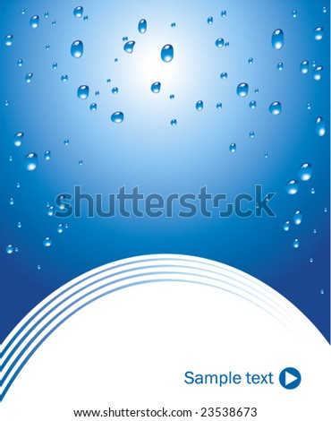 Blue background with water drops vector - stock vector