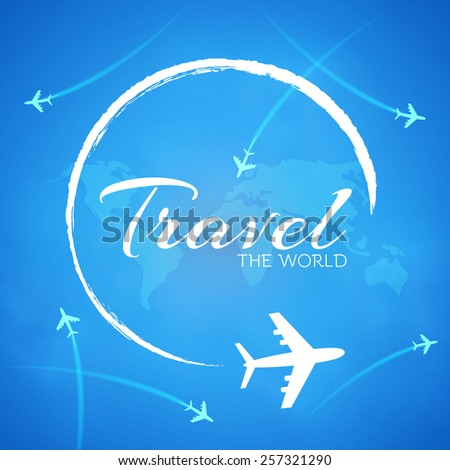 Blue background with white airplanes.  Vector illustration - stock vector