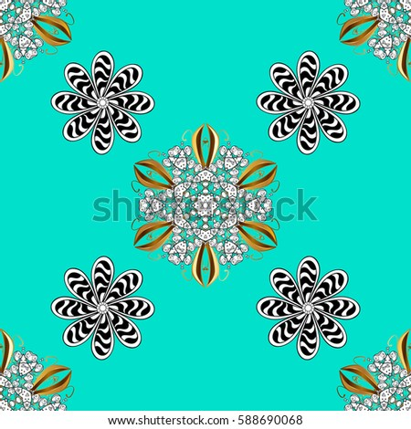 Blue background with white elements. Oriental style arabesques. Vector illustration. Seamless white textured curls. Vector white pattern.