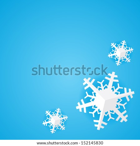 Blue background with white paper christmas snowflake with shadow - stock vector