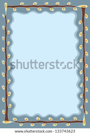 blue background with willow branches
