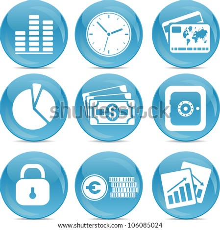 blue ball business icons - stock vector