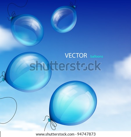 Blue balloons against sky with clouds - stock vector