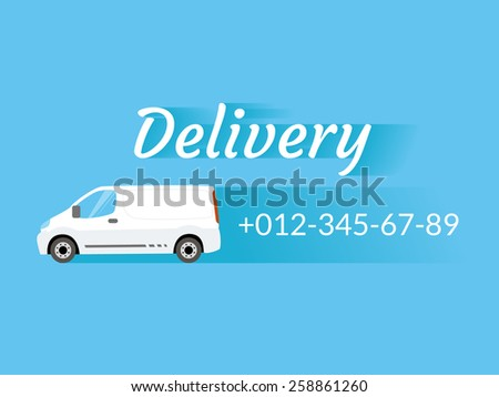 Blue banner with delivery van and telephone number - stock vector