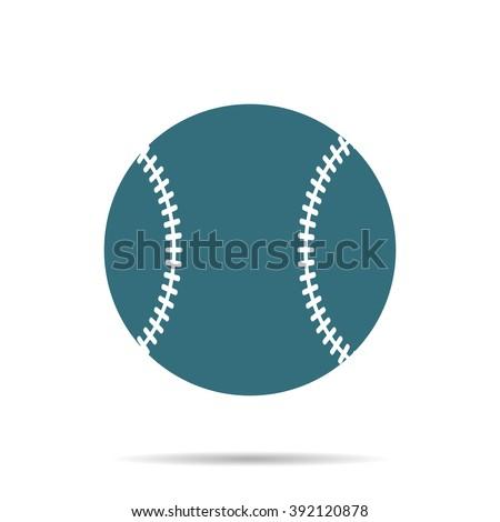Blue Baseball Ball icon isolated on background. Modern simple flat softball sign. Sport, internet concept. Trendy game vector symbol for website design, web button, mobile app. Logo illustration  - stock vector