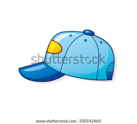 Blue baseball cap. - stock vector