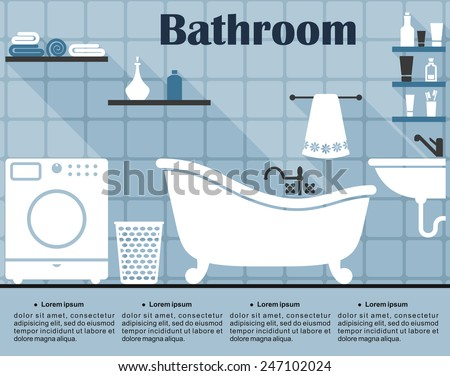 Blue bathroom interior in flat style showing the wall with tile, bath, sink, washing machine, laundry basket and shelves with towels and tubes - stock vector