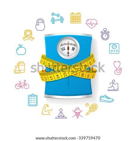 Blue Bathroom Scale. Fitness Concept. Vector illustration - stock vector