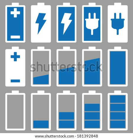 Blue Battery Icons Set  - stock vector