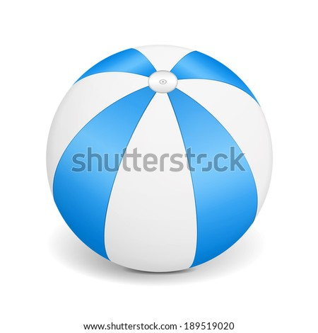 Blue beach ball on white background, vector eps10 illustration