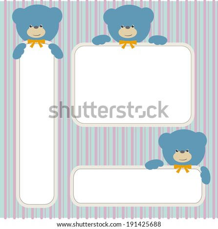 Blue bear teddy with banners