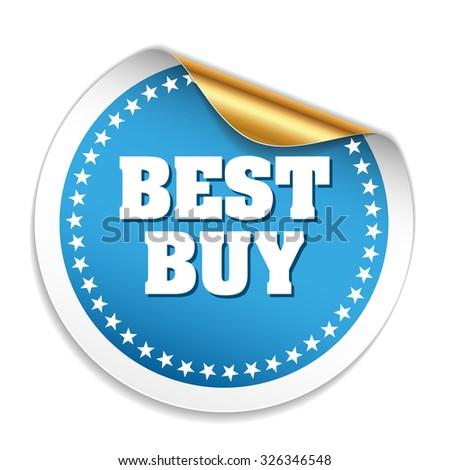 Blue best buy sticker with gold peal - stock vector
