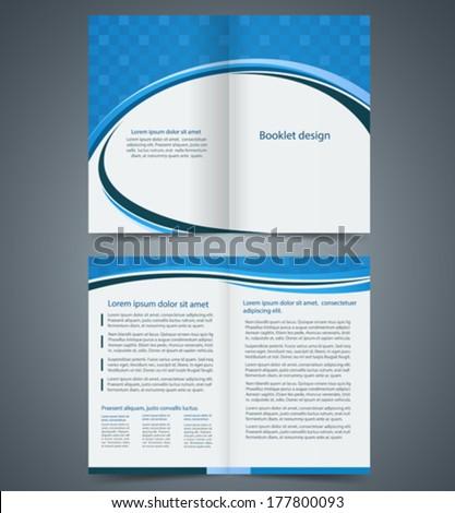 Blue Bifold Brochure Template Design Business Stock Vector 2018