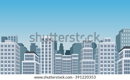 Blue big colorful city landscape with buildings