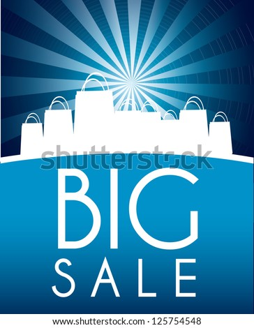 Blue big sale over blue background vector illustration - stock vector