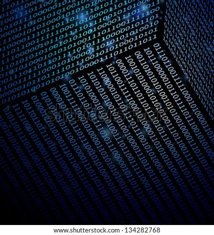 Blue Binary Data technology background - stock vector