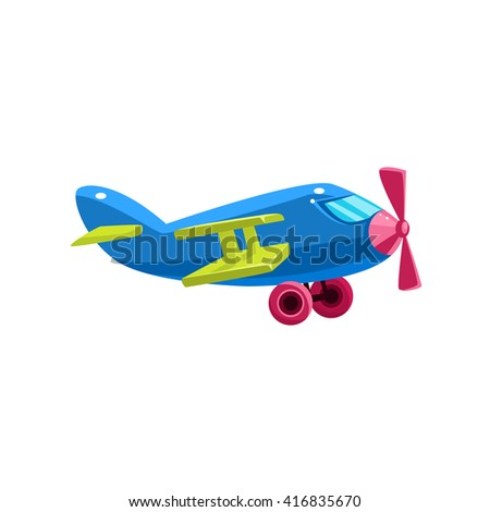Blue Biplane Toy Aircraft Glossy Vector Drawing In Childish Fun Style Isolated On White Background - stock vector