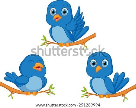 blue bird cartoon  - stock vector