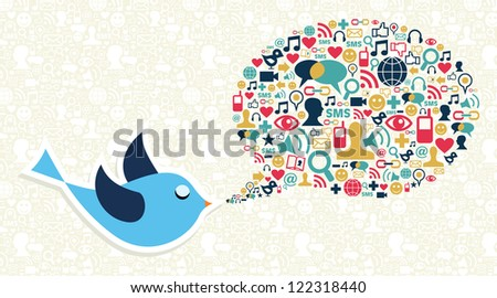 Blue bird cartoon icon set in speech bubble shape. Vector file layered for easy manipulation and custom coloring. - stock vector