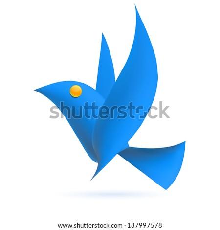 Blue bird ecology element. Vector illustration - stock vector