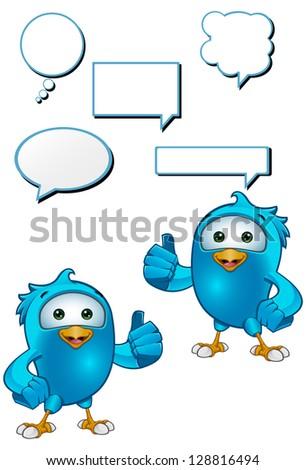 Blue Bird - Giving A Thumbs Up - stock vector