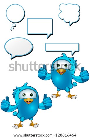 Blue Bird - Giving A Two Thumbs Up - stock vector