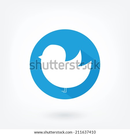 Blue bird icon in blue circle on white background. Social network icon on blue background. - stock vector