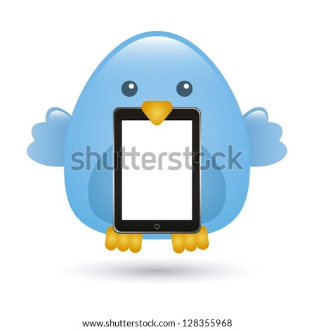 blue bird over white background. vector illustration