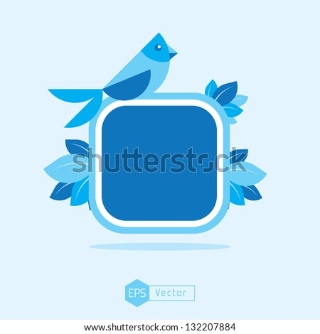 blue bird sign board - stock vector