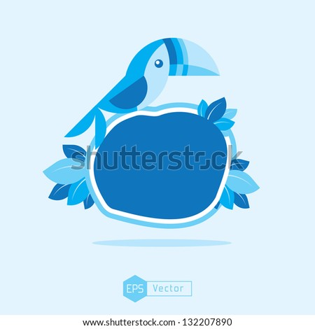 blue bird sign board toucan - stock vector