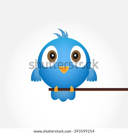 Blue bird sitting on a branch. Abstract blue bird over white background - vector illustration. - stock vector