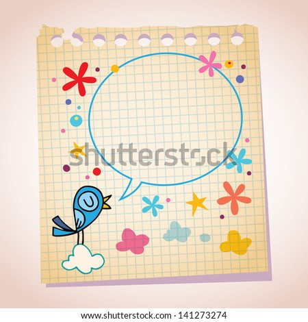 Blue bird speech bubble with space for text - stock vector