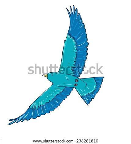 blue bird vector. flight of a bird, flapping wing. - stock vector
