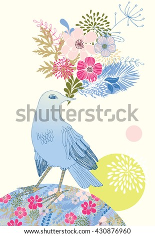 Blue bird with a bouquet of flowers - stock vector