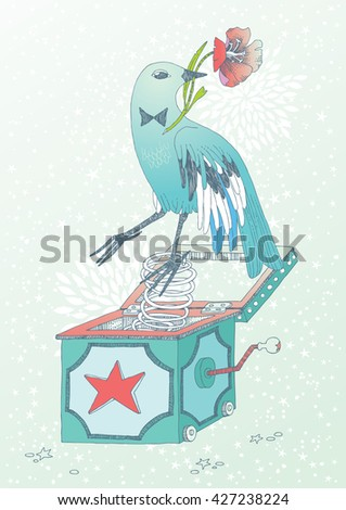 Blue bird with flower, jumping out of the box - stock vector