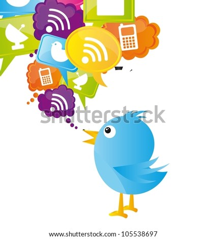 blue bird with icons over white background. vector