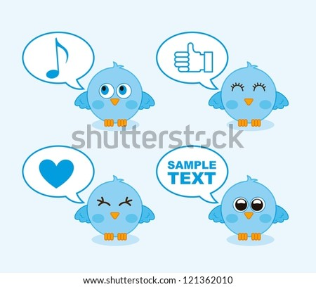 blue birds with balloons text over blue background. vector illustration - stock vector