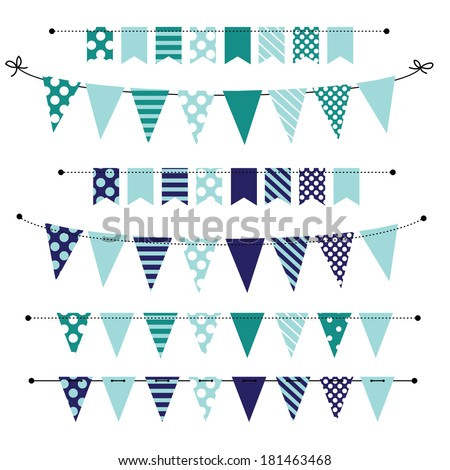 Blue blank banner, bunting or swag templates for scrapbooking  parties, spring, Easter, baby showers and sales, on transparent background, in vector format - stock vector