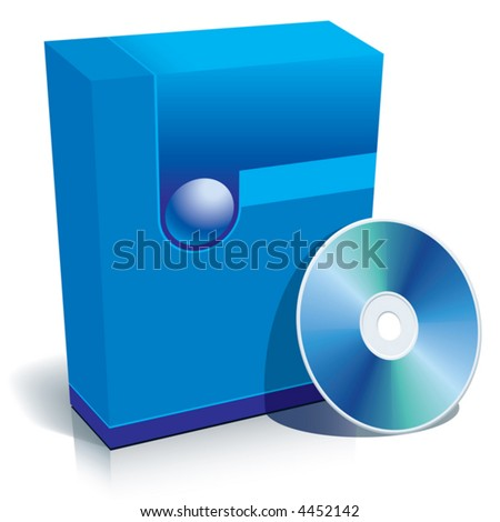 Blue blank 3d box with CD, vector, ready to use in your designs.