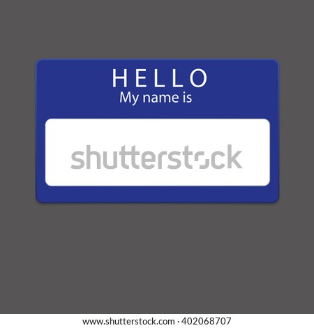 Blue blank name tag isolated on dark  background