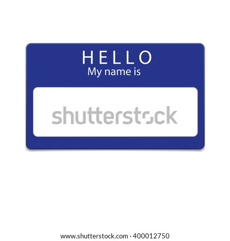 Blue blank name tag isolated on white background