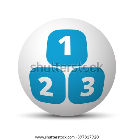 Blue 123 Blocks icon on sphere on white background - stock vector
