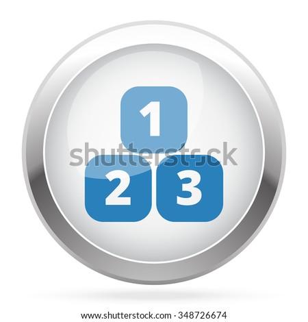 Blue 123 Blocks icon on white glossy chrome app button - stock vector