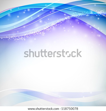 Blue blurs with white snowflakes. Vector illustration. - stock vector